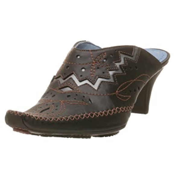 BOGO Indigo Clark's western mule heel leather